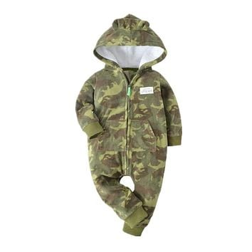 Orangemom 2018 autumn fleece baby rompers coats for infant clothes hooded with ear lovely camo jumpsuits for baby clothes