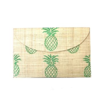 Kayu PINA Resort Clutch | Straw Clutch with Chain| Natural with embroidered Green Pineapples | SolEscapes.com
