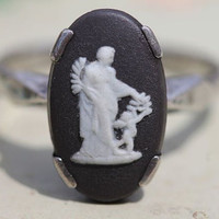 Vintage Art Deco Style Black Jasper Jasperware Glass Cameo Wedgewood Sterling Silver Ring