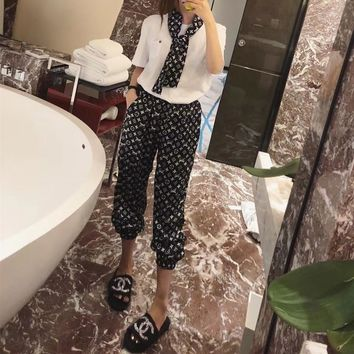 """Louis Vutitton"" Women Casual Fashion Letter Logo Print Short Sleeve T-shirt Trousers Scarf Set Three-Piece Sportswear"