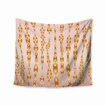 """Angelo Cerantola """"Jewels (Gold)"""" Gold Pink Diamond Contemporary Digital Illustration Wall Tapestry"""