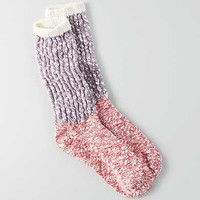 AEO Colorblock Crew Socks, Berry