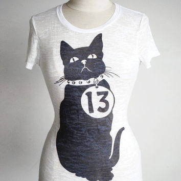 "Black Cat T-Shirt - Unlucky ""13"" - Graphic Printed White Tee - Women's sizes available"