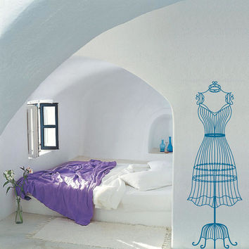 Female wire dress form mannequin vinyl wall decal / sticker / mural