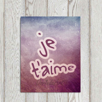 Je t'aime French I love you printable je t'aime art print Purple vintage paper Purple wall art poster Home decor INSTANT DOWNLOAD