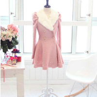 pink princess style cape Wool  Cashmere coat Double breasted button coat winter coat  cloak  cape with faux fur collar dy40 S,M