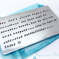 Hand stamped personalised aluminium wallet insert card, customise custom text, message for him keepsake