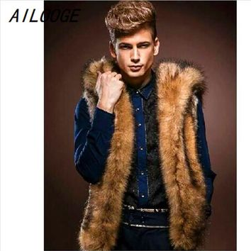 AILOOGE Fashion Winter Men Fur Vest New Thick Hoodie Sleeveless Outerwear