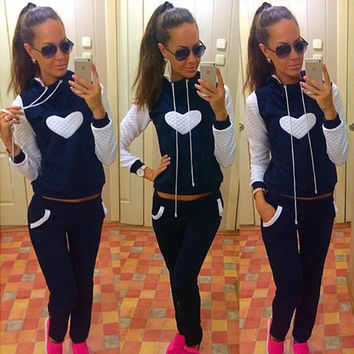 Heart Print Hoodie Casual Pant Activewear Sports Set