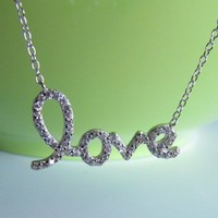 "Sterling Silver Script Letter LOVE CZ Necklace, 16""+2"""