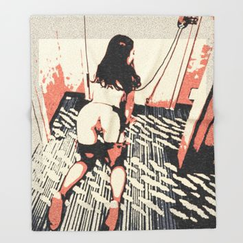 Well trained pet - bondage fantasy, hot erotic slave, pop art illustration, sexy naked girl abstract Throw Blanket by Peter Reiss
