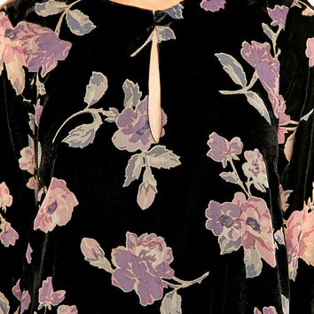 Pins & Needles Burnout Devore Velvet Floral Swing Dress - Urban Outfitters