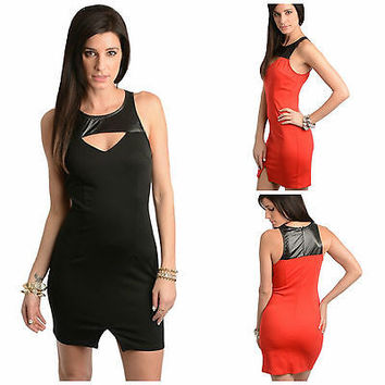 The Sexy Faux Leather Trim Keyhole Bodycon Dress