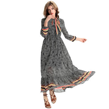 Women Chiffon Maxi Dress Vintage Print Striped Tie Neck Roupa Feminina Long Sleeve Elegant Swing Long Dress Grey SM6