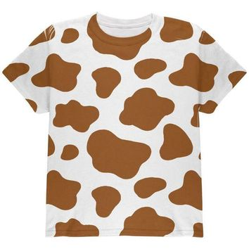 DCCKJY1 Halloween Costume Brown Spot Cow All Over Youth T Shirt