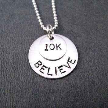 BELIEVE in the 10K Sterling Silver Necklace - Choose 16, 18 or 20 inch Sterling Silver Ball Chain - Run Jewelry - 10k Track - 10k Road Race