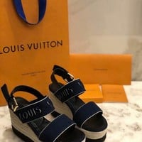 LV Louis Vuitton Sandals Shoes 100mm Heel White Thick Bottom Blue Casual Women Slippers