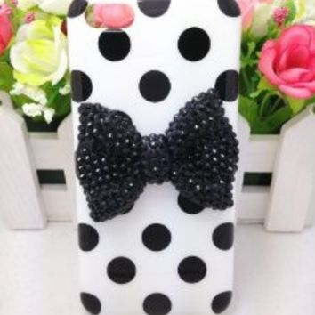 Lovely Cute 3D Bling Special Party Dot Pattern Case Cover For Apple iPhone 5C (Black Bow)
