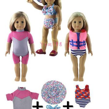 Swimming Pool beach 3 Set Fashion Swimming Equipment Outfit for 18 Inch american Girl Gifts for KidsSwimming Pool beach KO_14_1