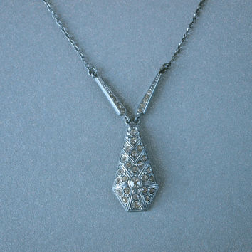 30's Art Deco Necklace Czech Silver Pendant Rhinestone Pave Bridal Jewelry