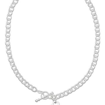 """Sterling Silver 17"""" Italian Engravable Heart Necklace With Toggle Clasp"""