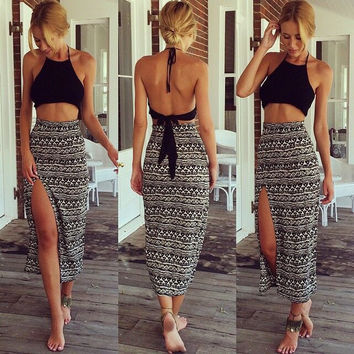 Black Halter Cropped Top and High Waisted Maxi Skirt