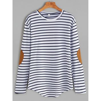 Elbow Patch Striped T-shirt Round Neck