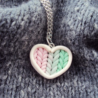 Ombre Pink Mint Knitted Heart Necklace Polymer Clay, Miniature Clay Jewelry, Silver Plated Chain