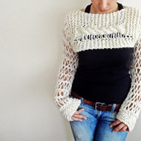 Light Cream Long sleeved cropped She-O sweater / shrug