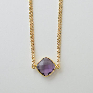 Gold Amethyst Necklace, Bezel Set Cushion Amethyst Jewelry, Single Stone, Multi Strand, 16 Inch