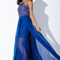 Navy Blue Chiffon Prom Dress 27516