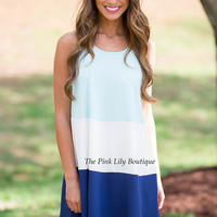 Middle Of The Spotlight Dress Aqua and Navy