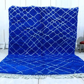 Large Blue wool moroccan rug 8x11