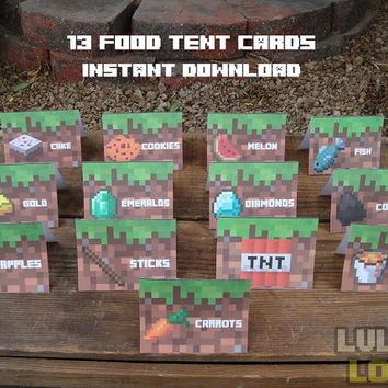 13 Minecraft Food Tent Cards - DIY Minecraft Party - Baker's Dozen - Instant Download Minecraft Food Tents - You Print At Home