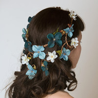 Wedding Crown w/ Cascading Veil of Turquoise & Aqua Flowers