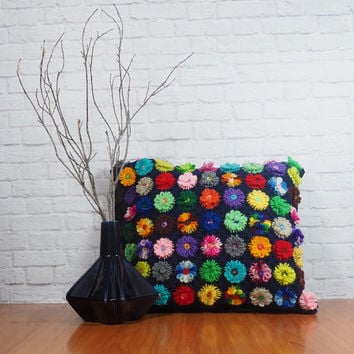 Vintage Hand Made Crochet Pillow Cover Colorful Flowers Navy Blue and Black - No Insert