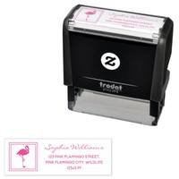 Pink Flamingo Tropical Themed Cute Modern Self-inking Stamp
