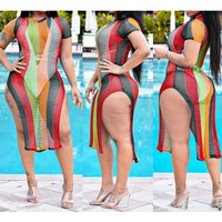 Best selling women's personality grid print striped short sleeves on both sides of the split 3 color dress (Only 1 piece) Red