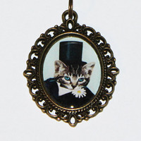 Top Hat Cat Necklace