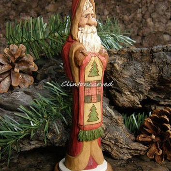 Hand Carved Wood Santa Hand Made Christmas Decoration Wood Carving Christmas Gift Santa Collector Gift Quilt
