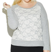 Lace Front Pullover Sweatshirt | Wet Seal