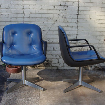 Mid Century Modern Blue Charles Pollock Style Steelcase Vintage Office Chairs, MESSAGE FOR SHIPPING