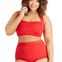 Seaside Serenity Classic Swimsuit Top in Red - Plus Size | Mod Retro Vintage Bathing Suits | ModCloth.com