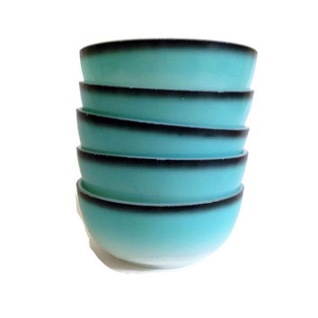 Vintage Hazel Atlas, Ovide Platonite, Bowls, Turquoise on White with Black Trim, Opaque Glass, Mid Century, 1950's, Set of 5
