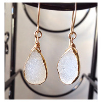 White Agate Druzy Gold Earrings  Bezel Set by camilaestrella