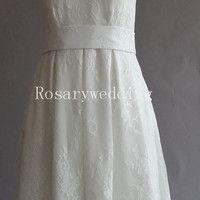 Classic a line tea length lace wedding dress