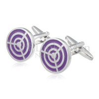 "Circular ""On Target"" Purple Cufflinks"