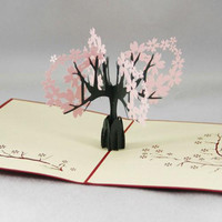 Foldable 3D Greeting Card Invitations Sakura Cherry Blossom Valentines Birthday Thank You Mother's Day