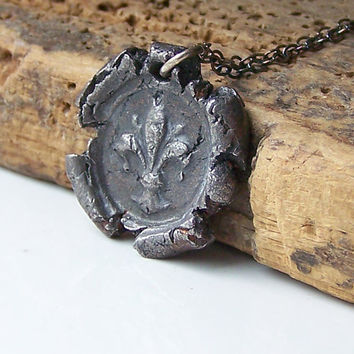 Etsy, Etsy Jewelry, Fleur de Lis Stamped Necklace, Wax Stamped Seal Necklace, Hadar's Clay, Steel and Sterling Silver Necklace