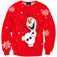Red Olaf Print Sweatshirt
